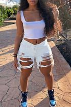 White Casual Cotton Tassel Hem Ripped Mid Waist Shorts HM5309