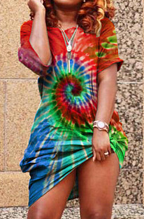 Red Casual Polyester Tie Dye Short Sleeve Off Shoulder Flat Pocket Shift Dress YT3163