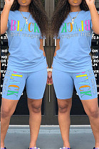Light Blue Casual Polyester Letter Short Sleeve Round Neck Tee Top Shorts Sets HM5249