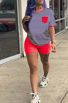 Red Casual Polyester Striped Short Sleeve Round Neck Tee Top Shorts Sets HM5313