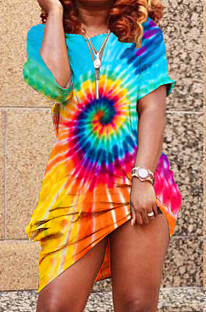 Blue Casual Polyester Tie Dye Short Sleeve Off Shoulder Flat Pocket Shift Dress YT3163