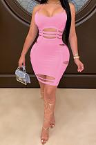 Pink Sexy Sleeveless V Neck Ripped Slip Dress YYF8097
