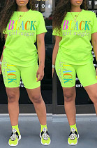 Green Casual Polyester Letter Short Sleeve Round Neck Tee Top Shorts Sets HM5249