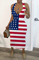 Casual Polyester The American flag  Graphic Sleeveless Deep V Neck Long Dress YM8123