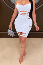 White Sexy Sleeveless V Neck Ripped Slip Dress YYF8097