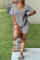 Black Casual Cotton Striped Short Sleeve V Neck Tee Top Shorts Sets K8914