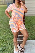 Orange Casual Cotton Striped Short Sleeve V Neck Tee Top Shorts Sets K8914