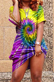 Yellow Casual Polyester Tie Dye Short Sleeve Off Shoulder Flat Pocket Shift Dress YT3163