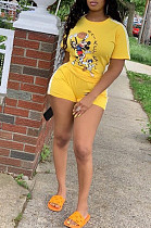 Yellow Casual Polyester Cartoon Graphic Short Sleeve Round Neck Tee Top Shorts Sets YSS8006