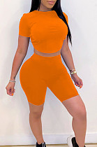 Orange Casual Polyester Short Sleeve Round Neck Backless Hollow Out Tee Top Shorts Sets HM5315