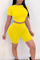 Yellow Casual Polyester Short Sleeve Round Neck Backless Hollow Out Tee Top Shorts Sets HM5315