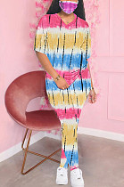 Blue Yellow Casual Polyester Tie Dye Short Sleeve Round Neck Tee Top Long Pants Sets SDD9280