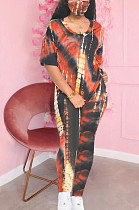 Black Red Casual Polyester Tie Dye Short Sleeve Round Neck Tee Top Long Pants Sets SDD9280