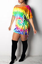 Yellow Casual Polyester Tie Dye Short Sleeve Knotted Strap Ruffle Mini Dress K8889