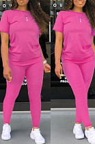 Rose Red Casual Polyester Short Sleeve Round Neck Tee Top Long Pants Sets SDD9276