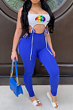 Blue Casual Mouth Graphic Sleeveless Square Neck Self Belted Tank Top Long Pants Sets YM0668