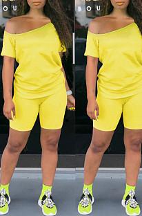 الأصفر عارضة القطن قصير الأكمام المحملة الأعلى شورت مجموعات K8909