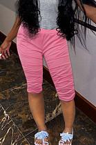 Pink Casual Cotton Ruffle High Waist Cropped Pants K3011
