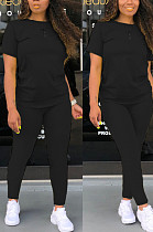 Black Casual Polyester Short Sleeve Round Neck Tee Top Long Pants Sets SDD9276