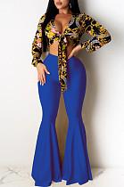 Pantalon évasé à taille mi-longue en polyester bleu décontracté K8907