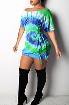Green Casual Polyester Tie Dye Short Sleeve Knotted Strap Ruffle Mini Dress K8889