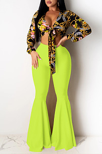 Yellow Casual Polyester Mid Waist Flare Leg Pants K8907