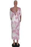 Pink Casual Tie Dye Half Sleeve V Neck Back Tied Long Dress YM8117