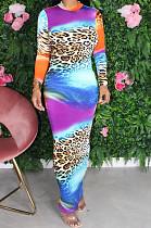 Multi Sexy Polyester Leopard Long Sleeve Long Dress YM8120