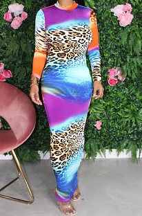 Multi Sexy Polyester Leopard Long Sleeve Long Dress YM8120