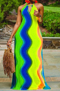 Blue Yellow Sexy Polyester Rainbow Stripe Sleeveless Back Tied Mid Waist Long Dress LYY9255
