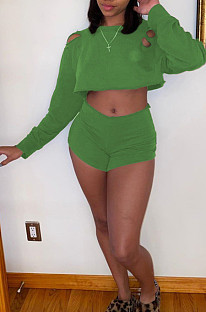 Green Casual Polyester Long Sleeve Round Neck Ripped Crop Top Shorts Sets WM852
