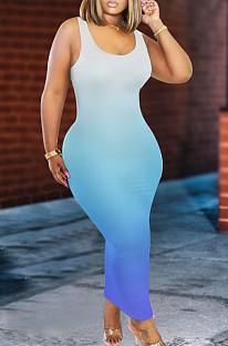Blue Casual Polyester Sleeveless Round Neck High Waist Tank Dress K8915