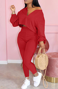 Red Casual Polyester Long Sleeve Utility Blouse Long Pants Sets LML128