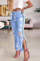 Blue Casual Polyester Self Belted Ripped Mid Waist Long Pants K005