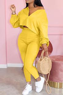 Yellow Casual Polyester Long Sleeve Utility Blouse Long Pants Sets LML128