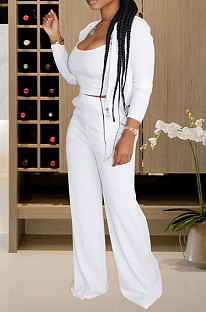 White Casual Polyester Long Sleeve Utility Blouse Long Pants Sets Q590