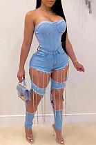 Blue Casual Polyester Tassel Hem High Waist Straight Leg Pants K003