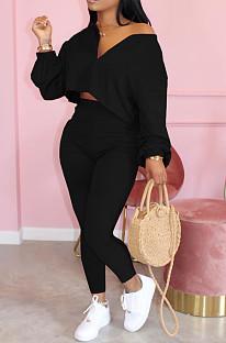 Black Casual Polyester Long Sleeve Utility Blouse Long Pants Sets LML128