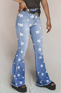 Blue Casual Star Graphic Mid Waist Long Pants Flare Leg Pants MD315