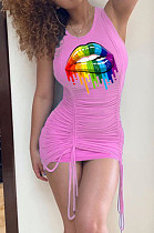 Pink Sexy Polyester Mouth Graphic Sleeveless Round Neck Shirred Detail Tank Dress WN850