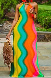 Green Orange Sexy Polyester Rainbow Stripe Sleeveless Back Tied Mid Waist Long Dress LYY9255