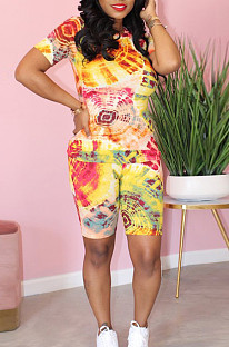 Yellow Casual Tie Dye Short Sleeve Round Neck Tee Top Shorts Sets MA6443