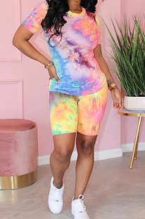 Purple Casual Tie Dye Short Sleeve Round Neck Tee Top Shorts Sets MA6443