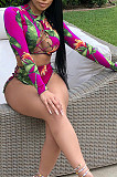 Rose Red Sexy Polyester Floral Long Sleeve Round Neck Crop Top Mid Waist Shorts Sets S6200