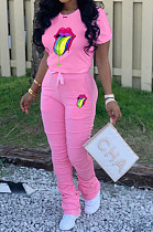 Pink Casual Polyester Mouth Graphic Short Sleeve Round Neck Tee Top Long Pants Sets ARM8191