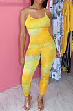 Yellow Casual Polyester Tie Dye Sleeveless Spaghetti Strap  Open Back Cami Jumpsuit BBN091