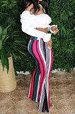 Pink Casual Polyester Striped High Waist Wide Leg Pants BBN090