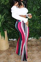 Pink Casual Polyester Striped High Waist Wide Leg Pants BBN090