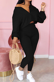 Black Casual Long Sleeve V Neck Crop Top Long Pants Sets ARM8189