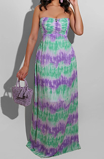 Green Casual Polyester Tie Dye Sleeveless Backless Tube Dress BS1201